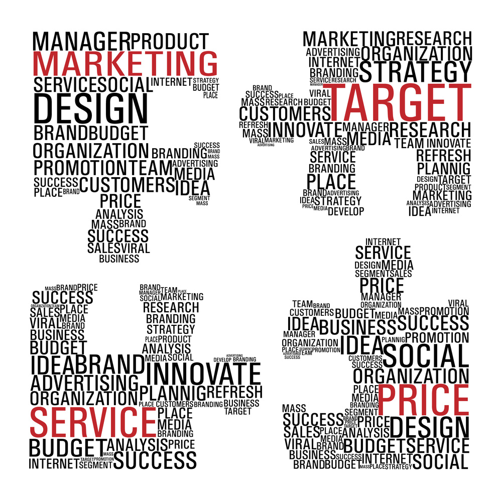 Puzzle pieces with marketing concept words isolated over white background. Vector file layered for easy manipulation and custom coloring.